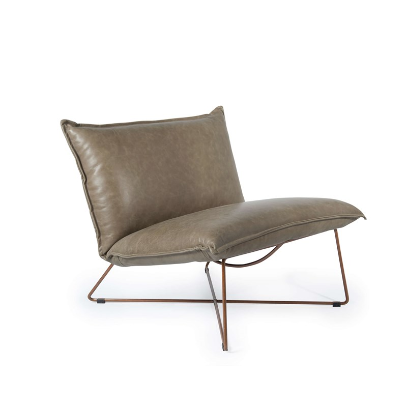 Earl Chair Without Arm Copper Frame Royal Grey Oblique